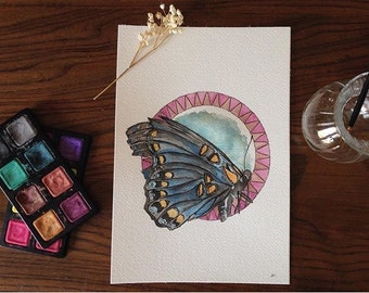 """Original watercolor, butterfly, geometric, """"A Cyclical Sanctifying: Specimen I"""""""