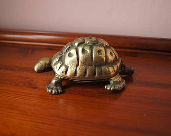 Brass turtle box, vintage decorative box,  brass ashtray.