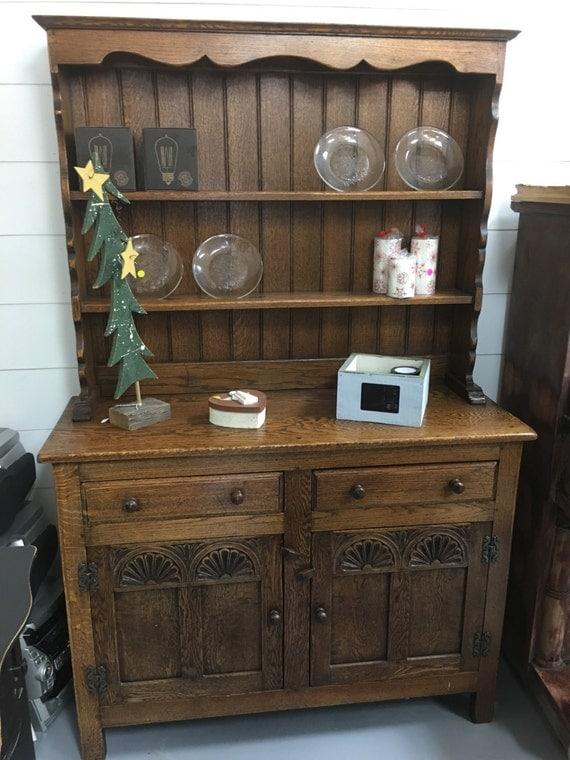 Antique Farmhouse Original Solid Oak 2 Pc By