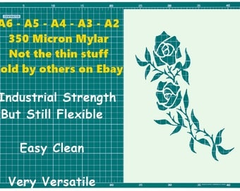 Tattoo style Rose  STENCIL Tattoo StyleTough Reusable 350 Micron Material Various Sizes  #T020