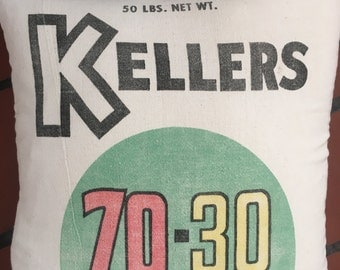 Kellers 70-30 Unused Vintage Feed Sack 15 x 15 Pillow Cover Free Shipping USA