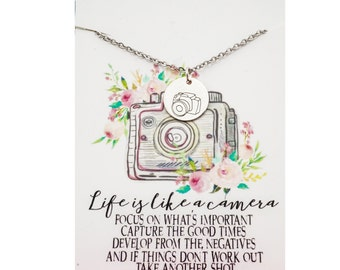 Life is like a camera sterling silver necklace - camera necklace - sterling silver camera- gift for photographer - inspirational jewelry