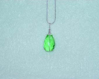 Emerald Faceted Teardrop Pendant Necklace
