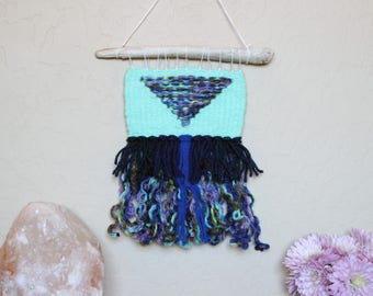 Mint Green Woven Wall Hanging - Mint Home Decor - Bohemian Style Decor - Geometric Triangle Wall Art - Mermaid Home Decor - Ocean Color Art