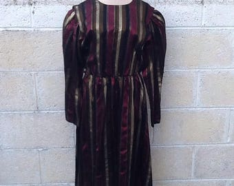 Vintage Gold and Plum Striped Dress
