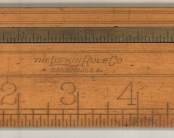 Lufkin vintage folding ruler caliper brass boxwood tool measuring Saginaw antique carpenter pocket