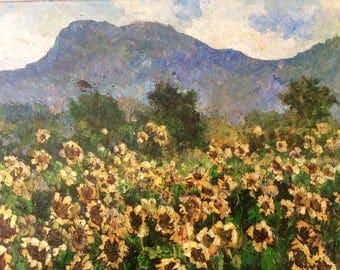 Vintage impressionistic oil on canvas, landscape oil painting of sunflowers, Livisddhi Noparat