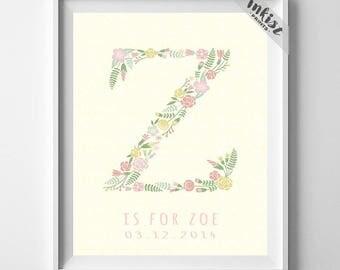 Monogram Art, Typography Art, Typographic Print, Alphabet Print, Zada, Zafirah, Zahavah, Zaida, Zaina, Zainabu, Initial, 4th of July