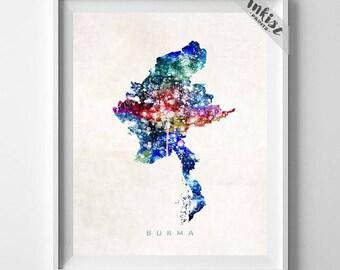 Burma Map, Myanmar Print, Burma Poster, Naypyidaw Map, State Art, Giclee Art, Map Art, Map Print, Travel Poster, Christmas Gift