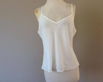 L / Sheer Chiffon Cami Camisole Lingerie Top / Cream / Large