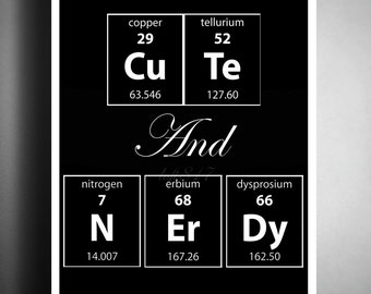 Periodic table wall art, Science art, Cute and Nerdy, geeky art print, wall quote