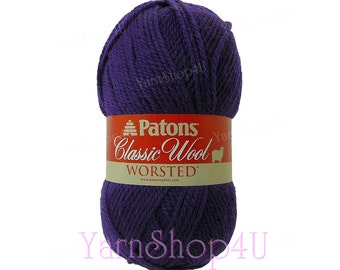 ROYAL PURPLE Patons Classic Wool yarn Feltable yarn worsted weight medium 4 pure wool Felting yarn purple wool 3.5 ounce 100 g