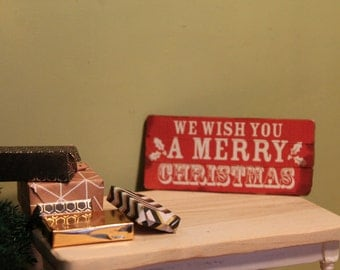 "Rustic Wooden Sign, ""We Wish You a Merry Christmas"" For Dollhouse"