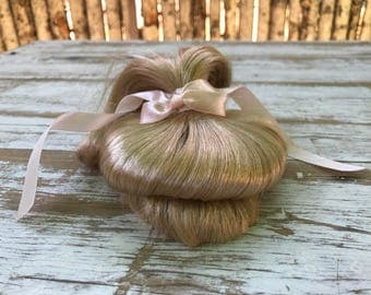 Blonde doll hair with ponytail and short bangs/ doll hair piece / doll hair with ribbon