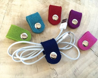 3 x cable ties hand made of wool felt