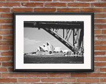 Sydney Opera House and Harbour Bridge Photography Print Printable Art Downloadable Print