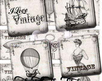 Vintage Love Steampunk Black and White 1 x 1 inch Digital Collage Sheet Square Images for Jewelry Making Scrabble Tiles Pendants