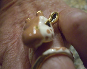 April Giraffe ring. Enamel, brass and Gold plate. Handmade, size 7.5 ships FREE in the USA