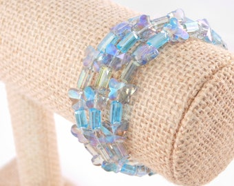 Butterfly Beaded Wrap Bracelet - Memory Wire Bracelet - Blue Bracelet - Gift for Her