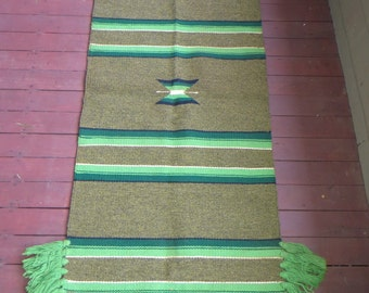 Horse Saddle Blanket Vintage Wool Hand Woven Mexico 70s