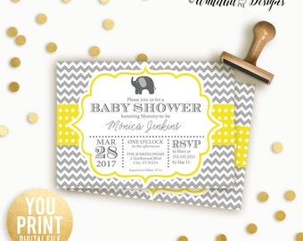 Elephant baby Shower Invitation, Yellow and Grey Elephant Baby Shower Invitation, Elephant Baby shower Invite, Personalized Printable