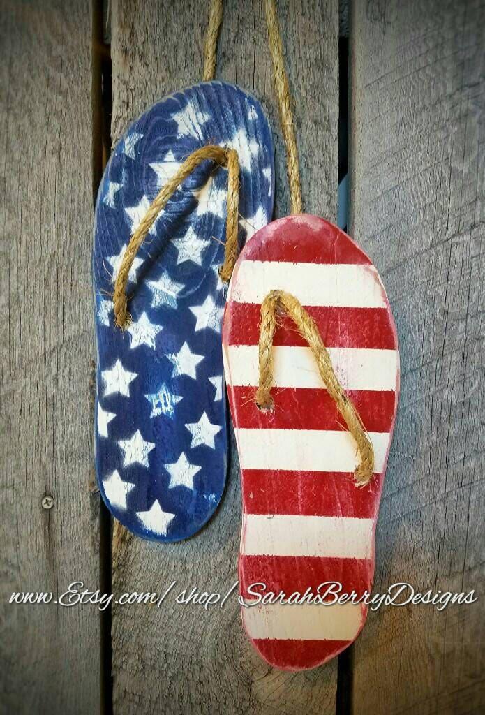 Flip Flop Decor American Flag Wooden Flip Flops Summer