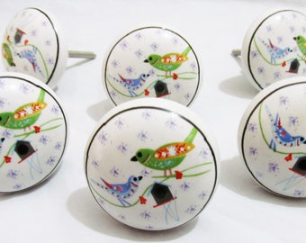 6 x LOVE BIRDS Vintage Look Ceramic Knobs Handles Cabinet Cupboard Drawer Pull Knobs