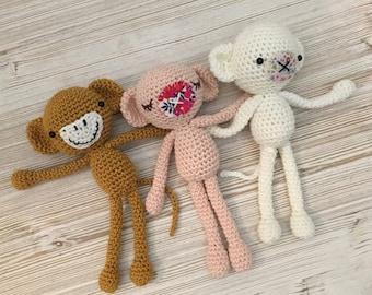 Cute  Monkey crochet plush, amigurumi monkey, monkey softie, kid toy, baby room decoration, Crochet Monkey, Soft Monkey,