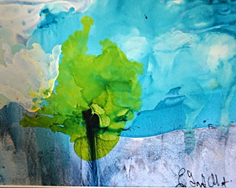 Abstract Alcohol Ink and Watercolor Painting, Abstract Watercolor, Alcohol Ink, Mixed Media, Original Abstract