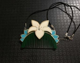 Mulan comb acrylic laser cut brooch