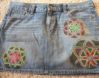 Upcycle Hand Embroidered Denim Skirt Size 10 Seed of Life Geometric Embroidery Hippie Neon Retro Decorated Free Shipping 37 inch