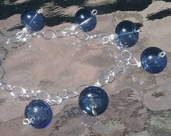 Blueberry Bracelet, these blown glass beads look just like shiny glass blueberries. Sterling Silver. Fits 6 1/2  to  8 inch