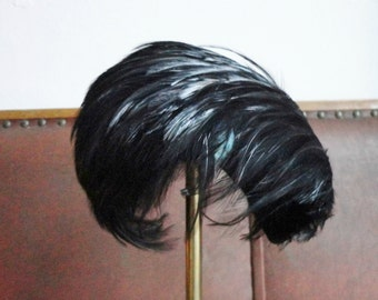Black 50s Curled Feather Hat // Peter Jessen Åbenrå // One Size // Made In Denmark