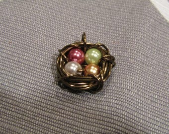 Made to order Bird nest and egg charms, customize with colors of your choice!