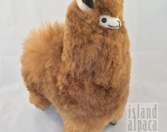 Large Fawn, 11 Inches Tall, Baby Alpaca Fur Toy Alpaca. Handmade, Soft Stuffed Animals. Luxurious Gift for Mothers Day, Birthdays, Holidays!
