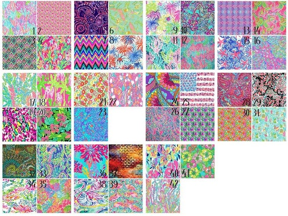 Lilly Pulitzer Adhesive Vinyl, HTV or Glitter HTV. Choice of 3 sizes. 6x6, 6x12 or 12x12