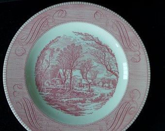"""Vintage  Set of 4 Pink and White Dinner Plates Marked"""" Royal Ironstone""""  10 """"D"""