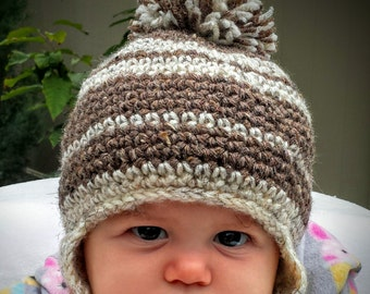 Baby Knitted Winter Hat, Infant Crochet Hat With Pom Pom, Baby Winer Clothes, Baby Crochet/Knitted Beanie With Pom Pom, Baby Gift