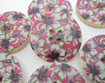 """6 Black Floral Buttons 25mm (1"""" inch)  Large Wooden Black Flower Sewing Buttons Knitting Buttoncraft Craft Accessories"""
