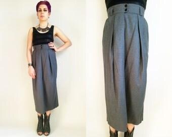 80s Clothes Dior Skirt Vintage Christian Dior Skirt 1980s Skirt Pure Wool Skirt Grey Pleated Wool Skirt Midi Skirt Wiggle Skirt Size Small