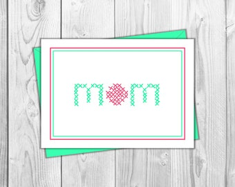 Mom Stitch Work Card - Birthday, Mother's Day, For Her, Gift for Mom