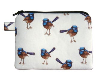 Blue Wren Bird Coin Purse - Small Coin Purse - Padded Pouch - Zippered Pouch - Bird Purse - Nature Purse - Bird Change Purse