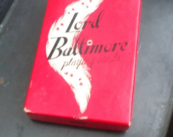50's Lord Baltimore Linen Finish Cowboy Playing Cards / RARE Playing Cards  / Poker / Rummy / Canasta / Vintage Collectibles / Ephemera