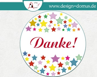 50 Dankesaufkleber, Sticker Danke - Bunte Sterne