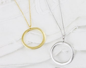 Stylish Circle Charm Necklace . Gold and Silver Circle Pendant Necklace Bridesmaid Gift Bridesmaid Necklace Birthday Gift