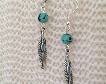 Native American Inspired feather dangle earrings