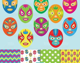 lucha libre clipart, mexican mask clipart, commercial use, wrestling clipart, MEXICO clipart, paper set, mask graphics