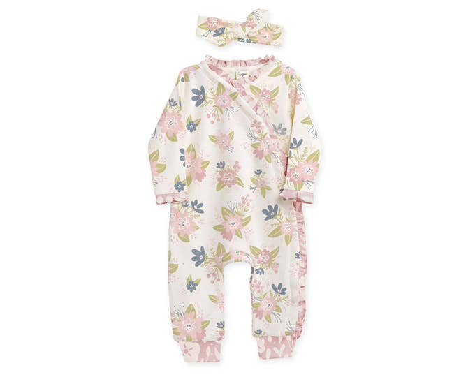 Newborn Girl Coming Home Outfit, Newborn Baby Girl Outfit, Newborn Girl Coming Home Outfit, Baby Girl Kimono Romper, Floral Romper, TesaBabe
