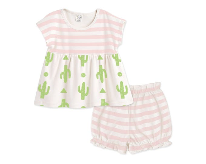 Summer Baby Girl Outfit, Newborn Girl Outfit, Baby Girl Pink Top, Baby Girl Pink Bloomers, Baby Girl Summer Cactus, TesaBabe TB020PICI0000