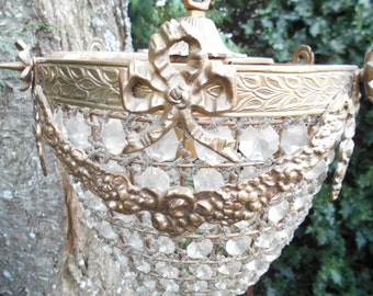 Beautiful Vintage Bronze Acorn Ormolu Crystal Chandelier.